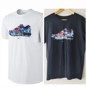 Nike Water Color Shoe Black Cotton T-Shirt